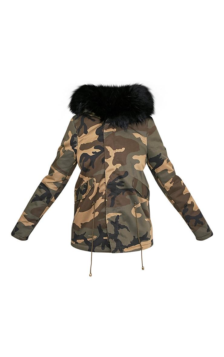 Klaudiya parka camouflage à doublure en fausse fourrure Premium noire 3