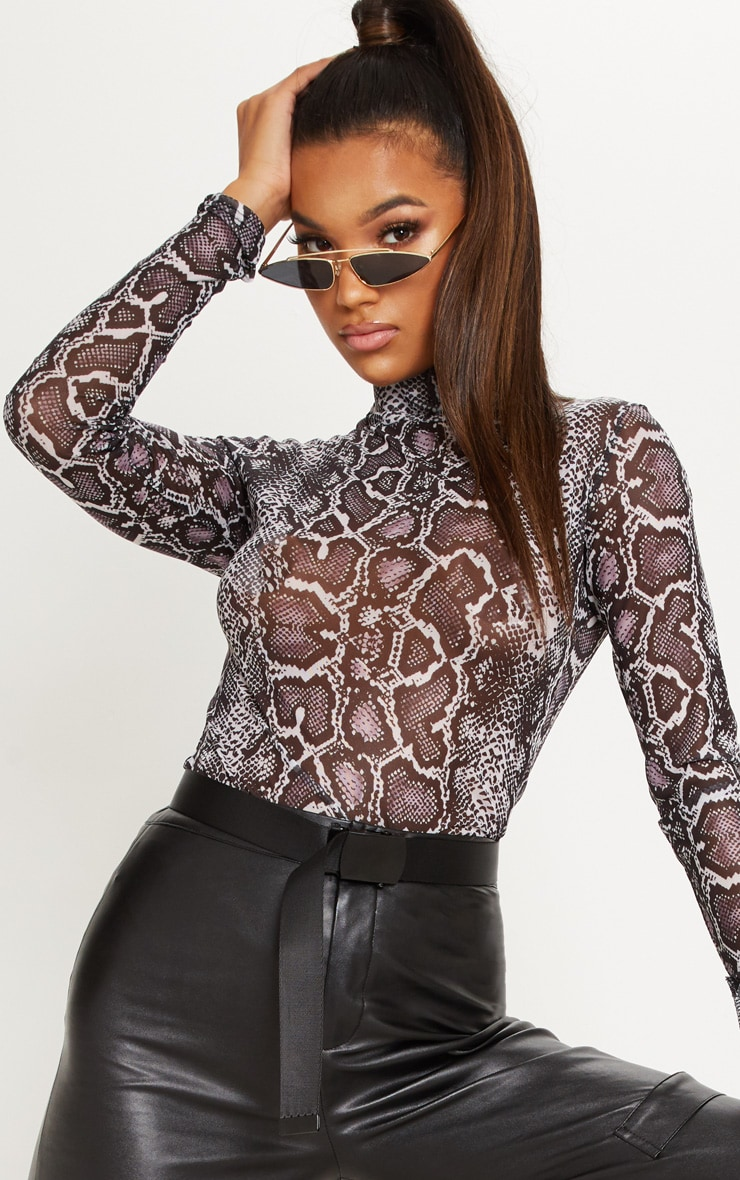 Mauve Snake Print High Neck Mesh Top 4