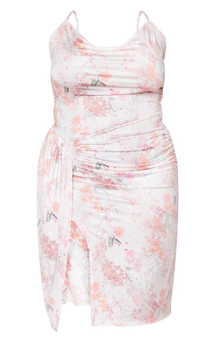 Plus Pink Floral Print Slinky Cowl Neck Ruched Midi Dress 5