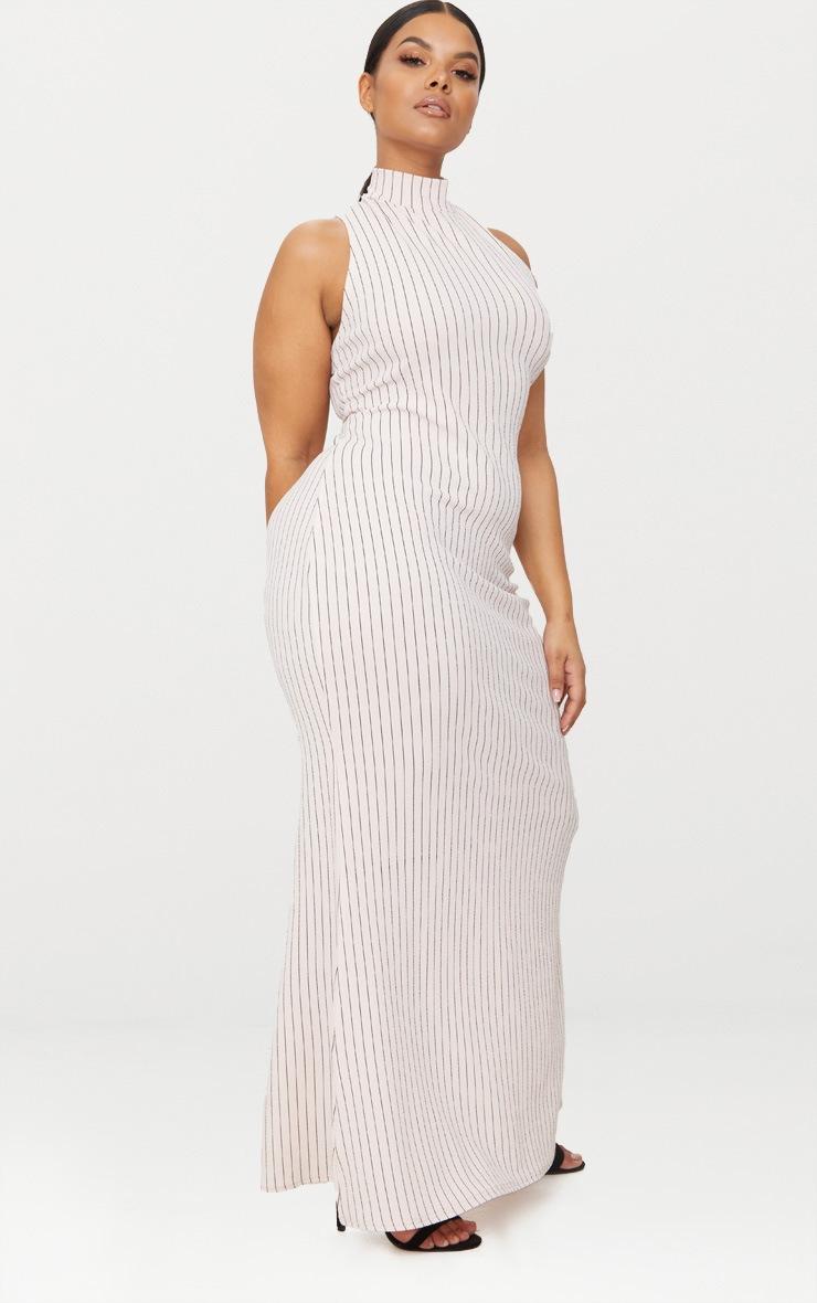 Plus Nude Pinstripe High Neck Maxi Dress 4