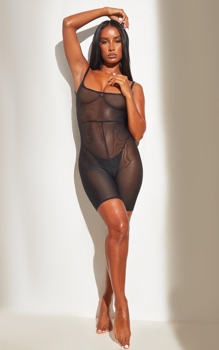 Black Shapewear Power Mesh Control Low Back Longline Body 3