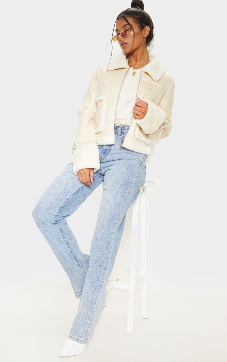 Cream Borg Trim Cropped PU Jacket 4