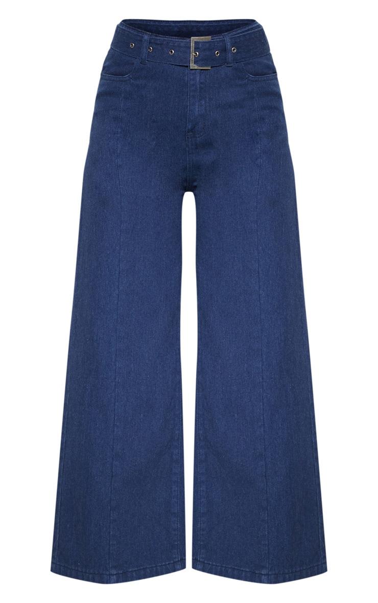 Jean bleu foncé à ceinture boucle 3