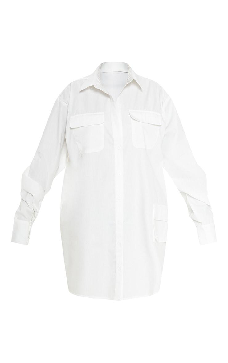 Petite White Pocket Detail Long Sleeve Shirt Dress 4