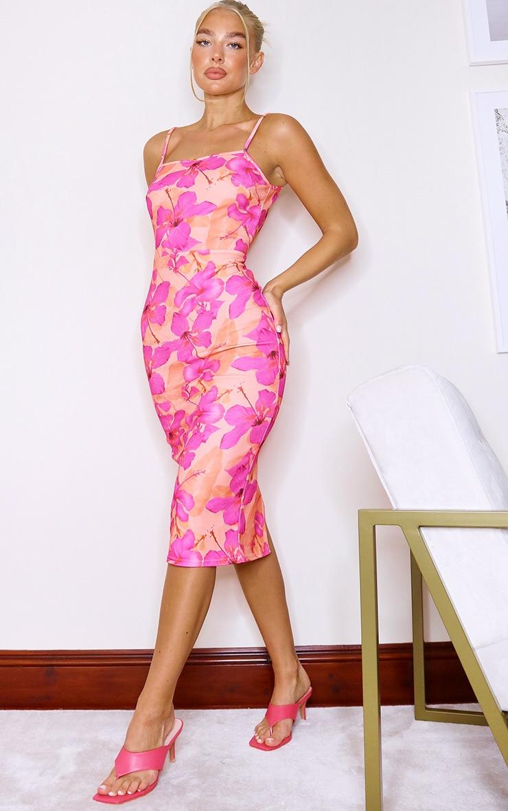 Coral Floral Print Crepe Strappy Midi Dress 3