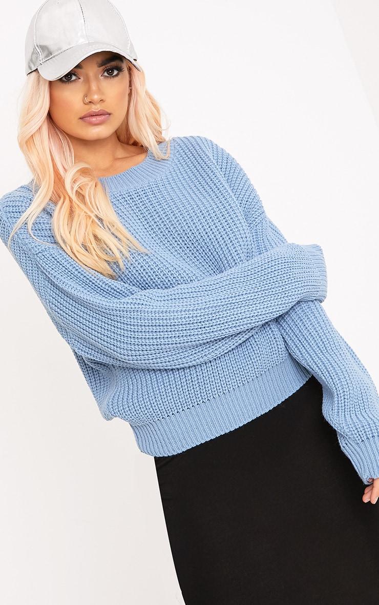 Cara Dusty Blue Cropped Knit Jumper 1