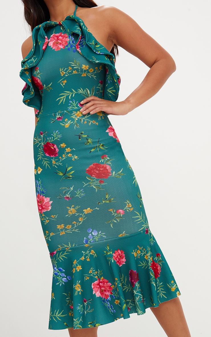 Emerald Green Floral Halterneck Frill Detail Fishtail Midi Dress 5