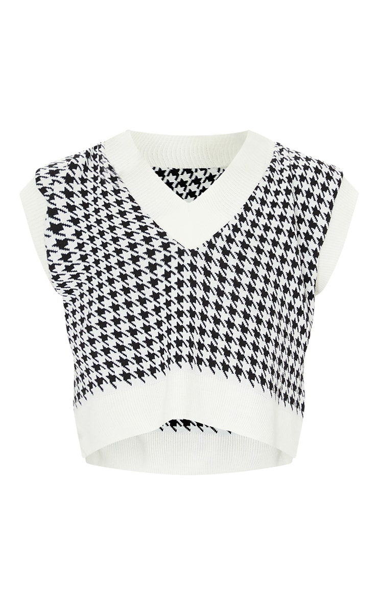 Tall Monochrome Crop V Neck Knitted Vest 5