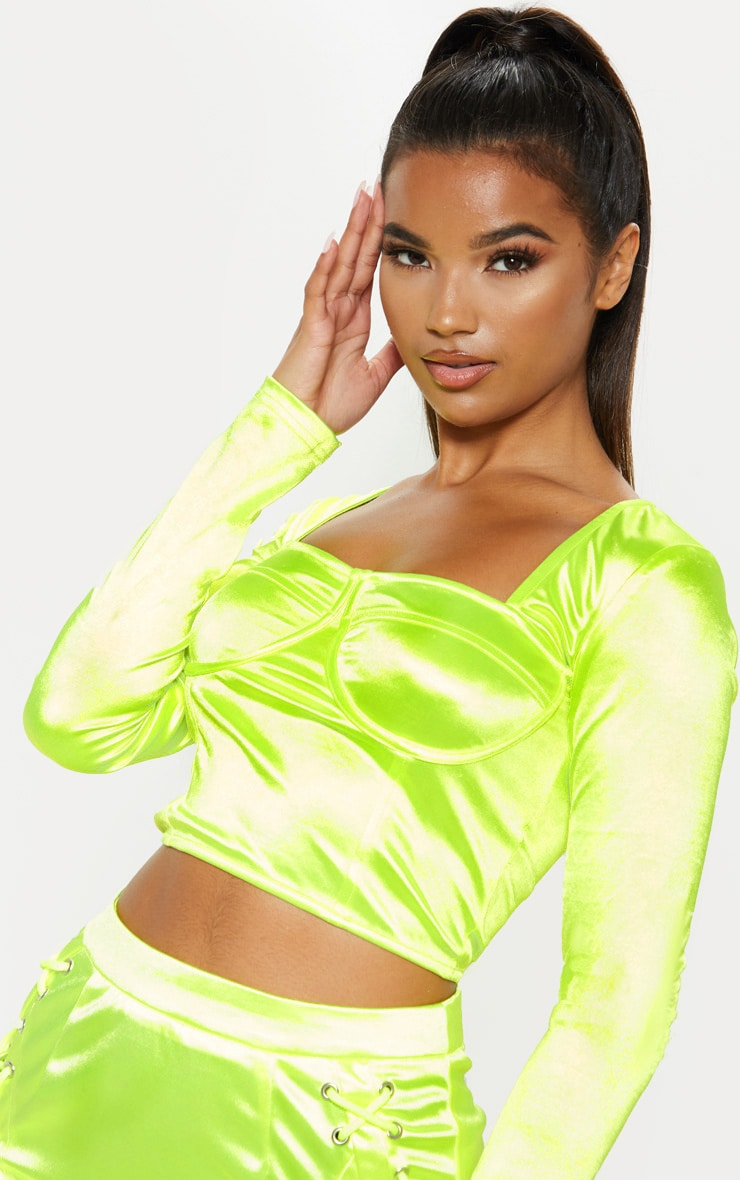 Neon Lime Satin Bust Detail Corset Top  5