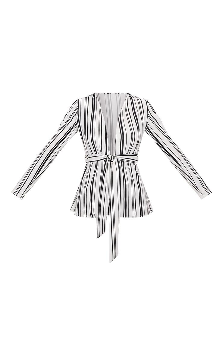White Stripe Collarless Belted Blazer 3