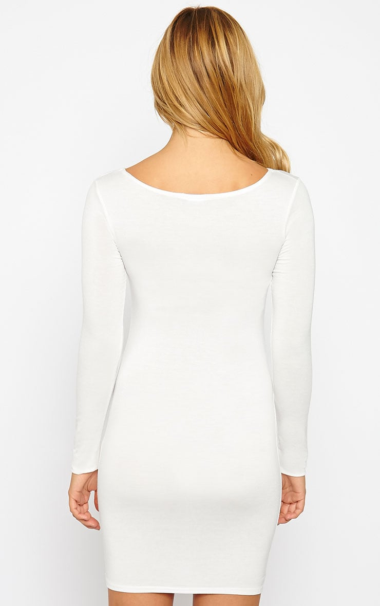 Basic Cream Long Sleeve Jersey Mini Dress 2