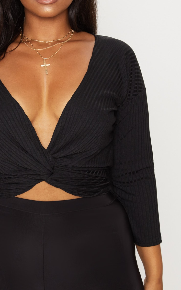Plus Black Ribbed Wrap Front Top 5