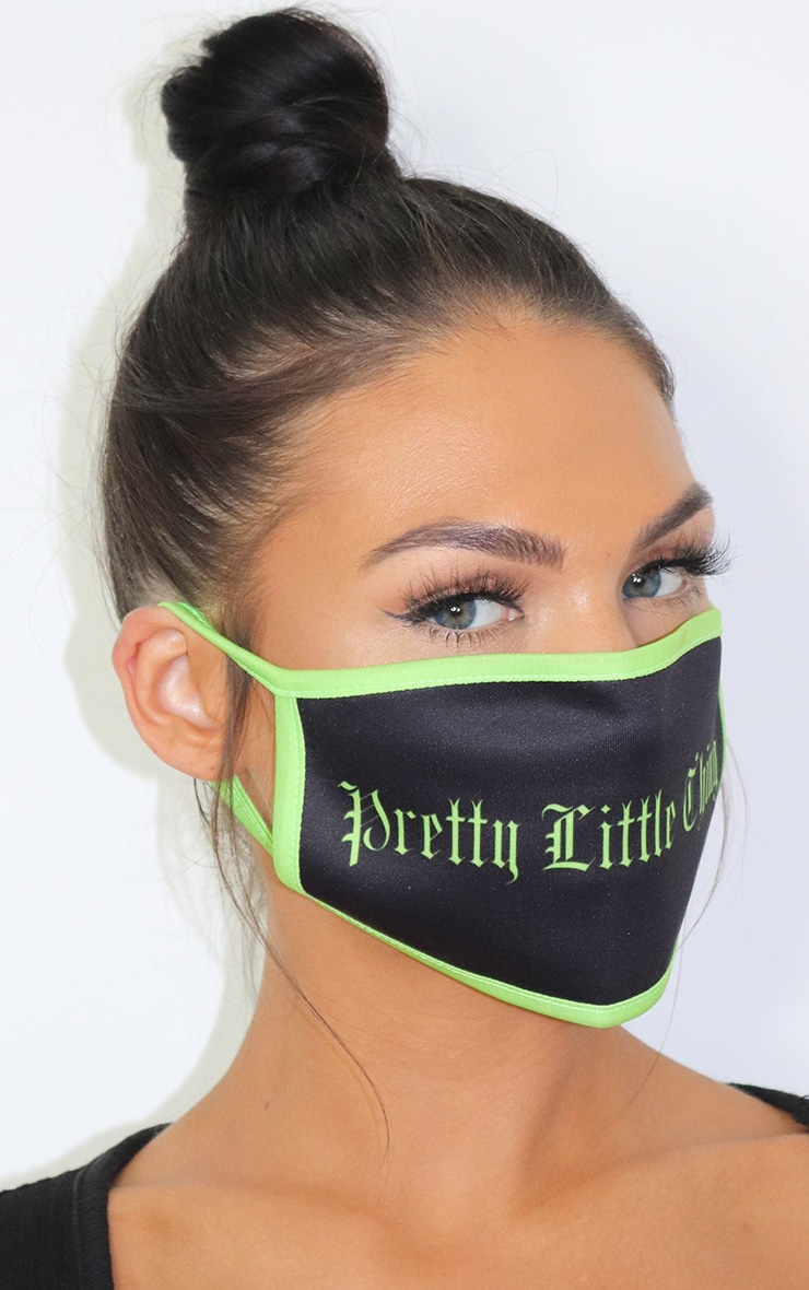 PRETTYLITTLETHING Black Gothic Slogan Fashion Mask 2