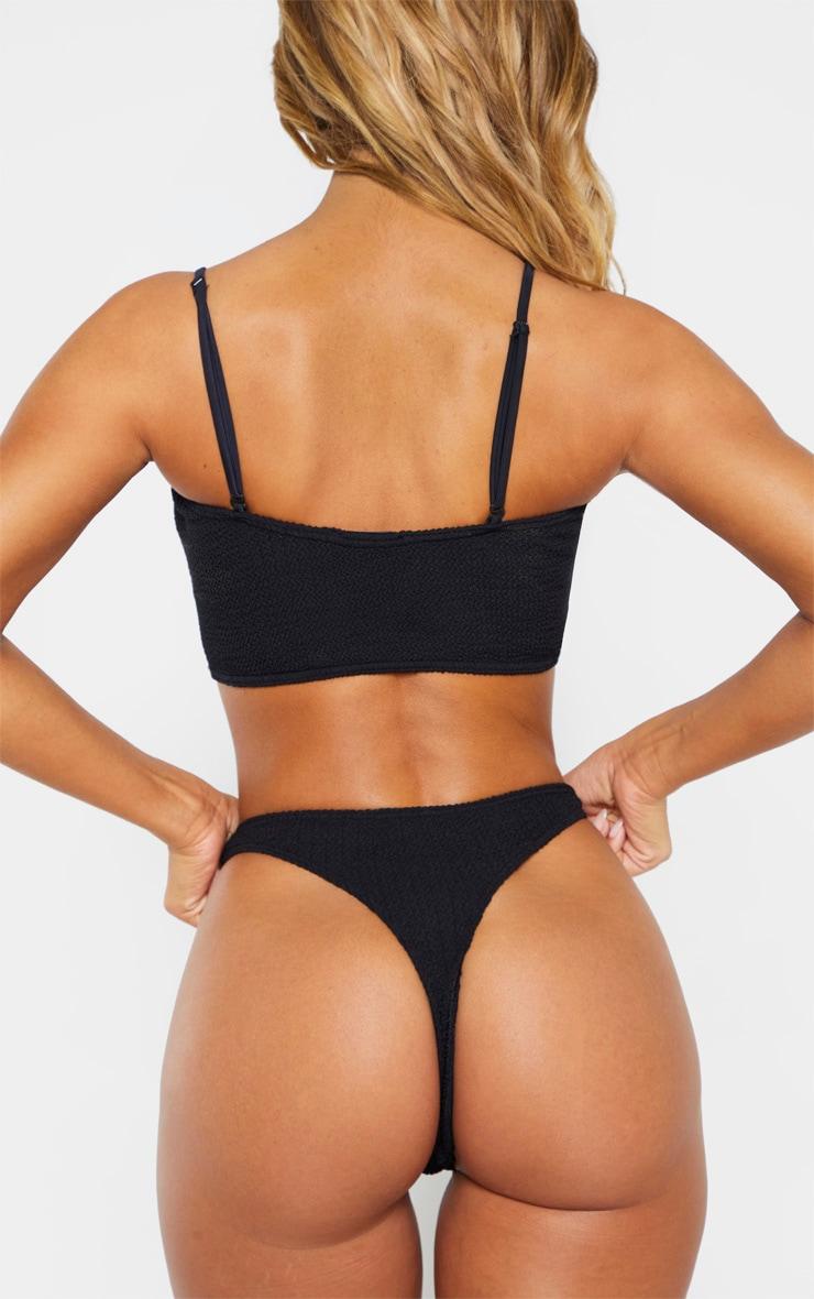 Black Crinkle Thong Bikini Bottom 3