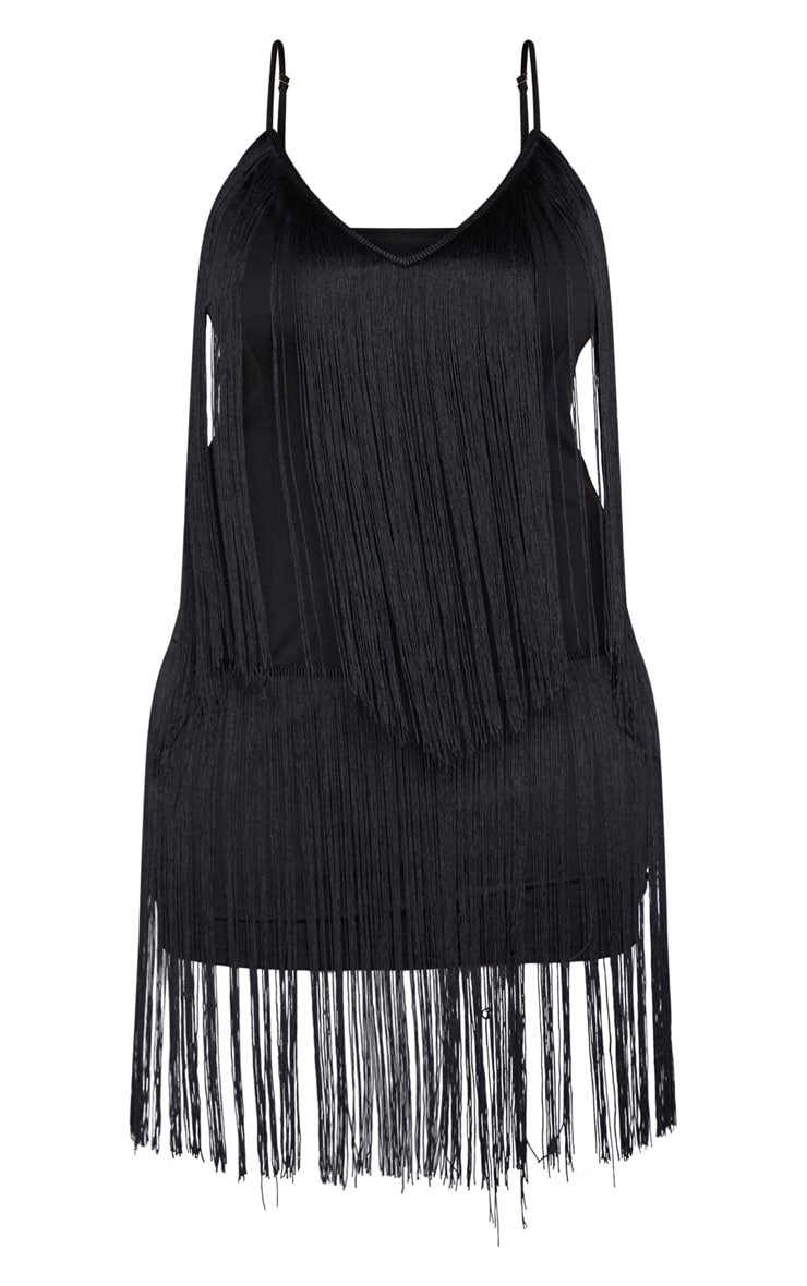 Plus Black Tassel Bodycon Dress  3