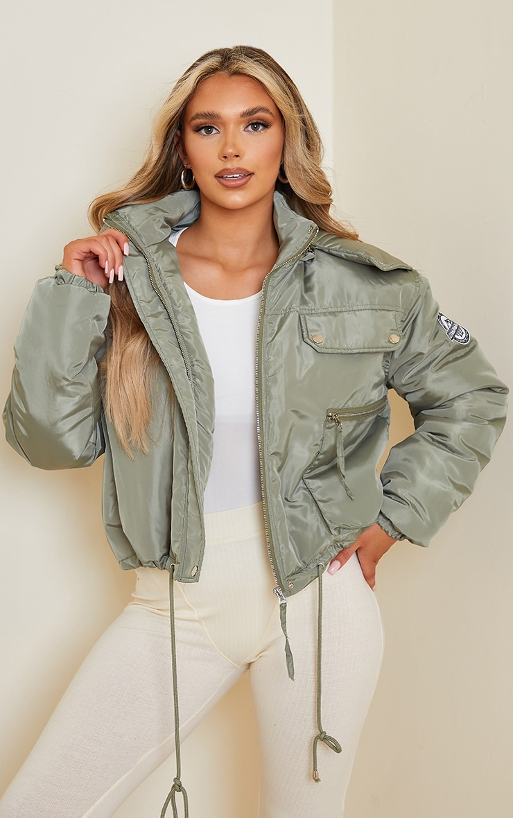 PRETTYLITTLETHING Khaki Cropped Removable Faux Fur Hooded Parka  1