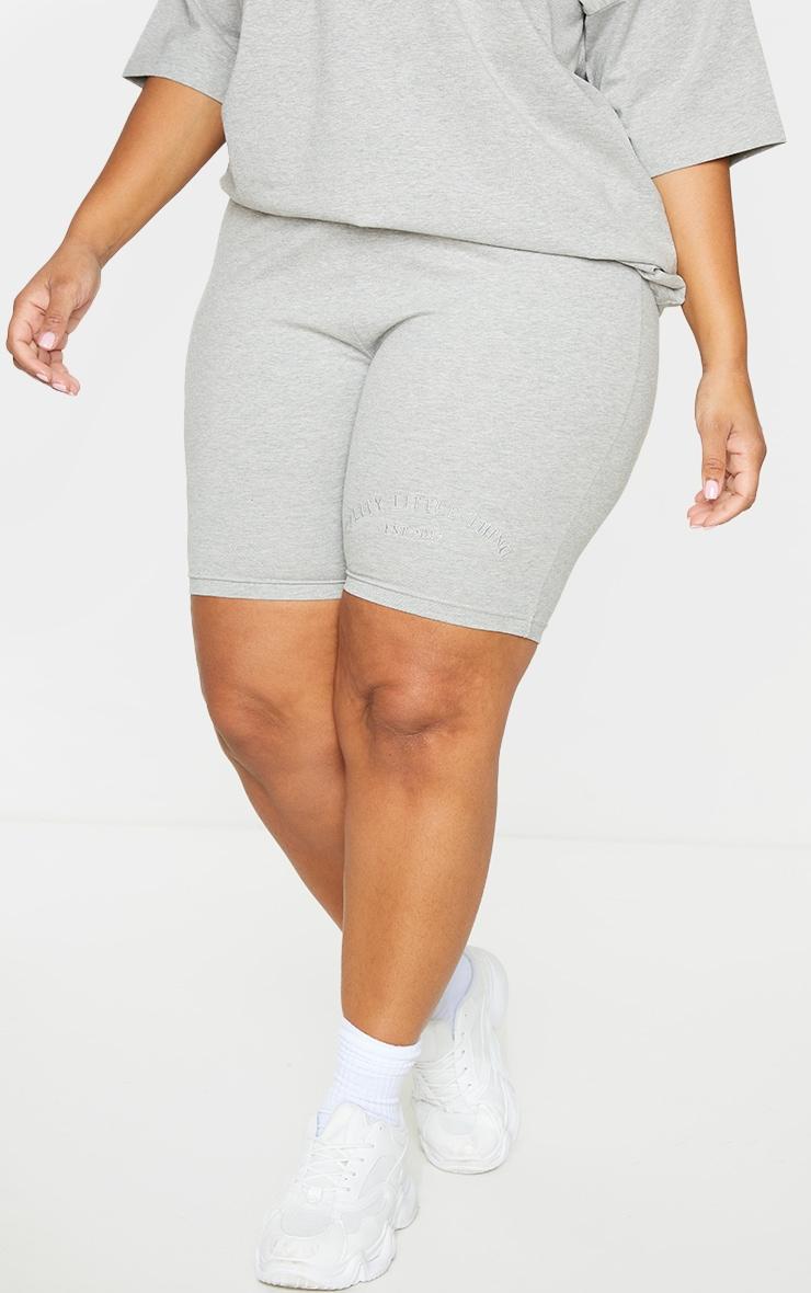 Plus Grey Embroidered Oversized Bike Shorts 2