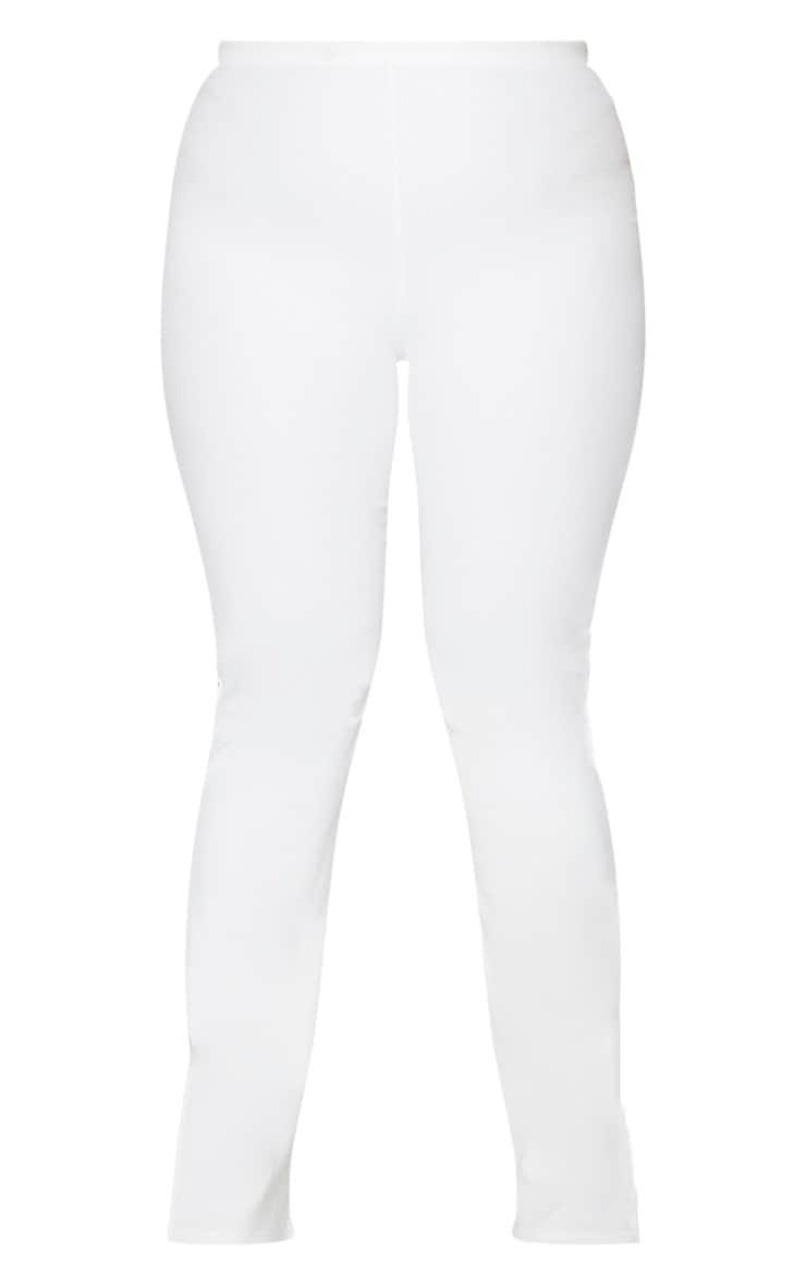 Plus Cream Ribbed Skinny Split Hem Pants 5