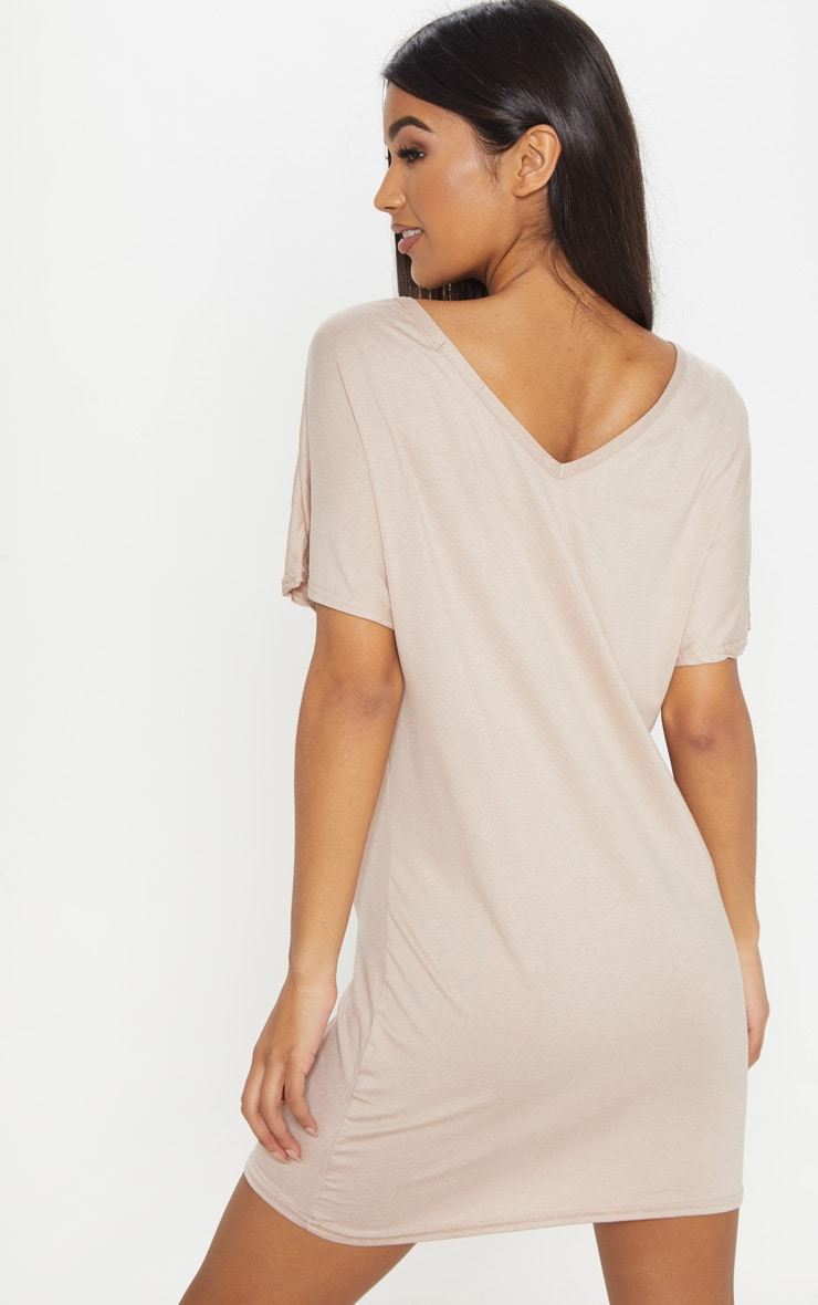 Basic Nude V Neck T Shirt Dress 2