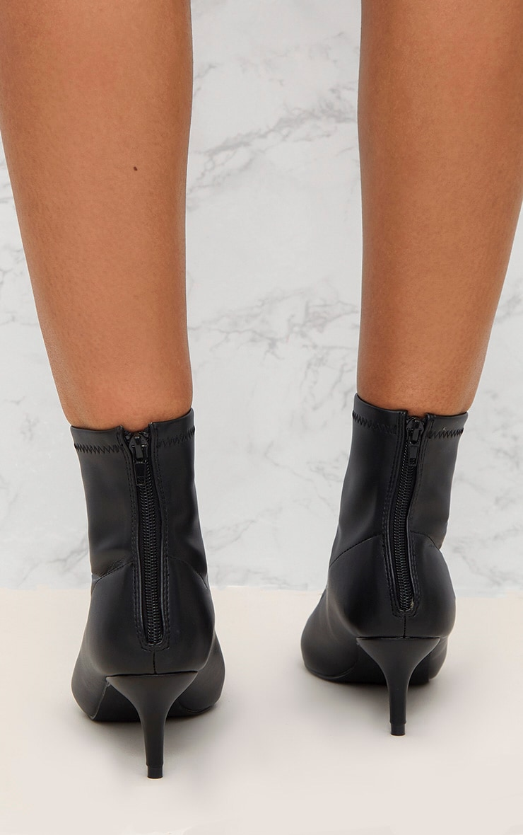 Black PU Low Heeled Ankle Boots 4
