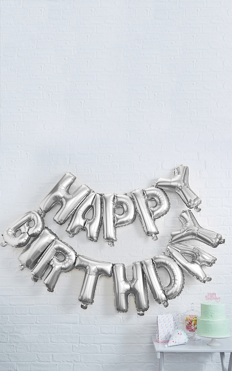 Ginger Ray Silver Happy Birthday Balloon Bunting 1