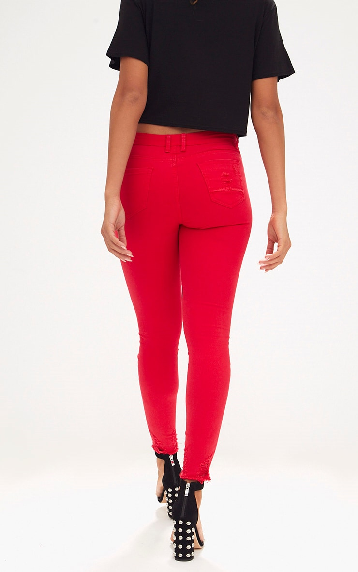Red Low Rise Distressed Rip Skinny Jean  4