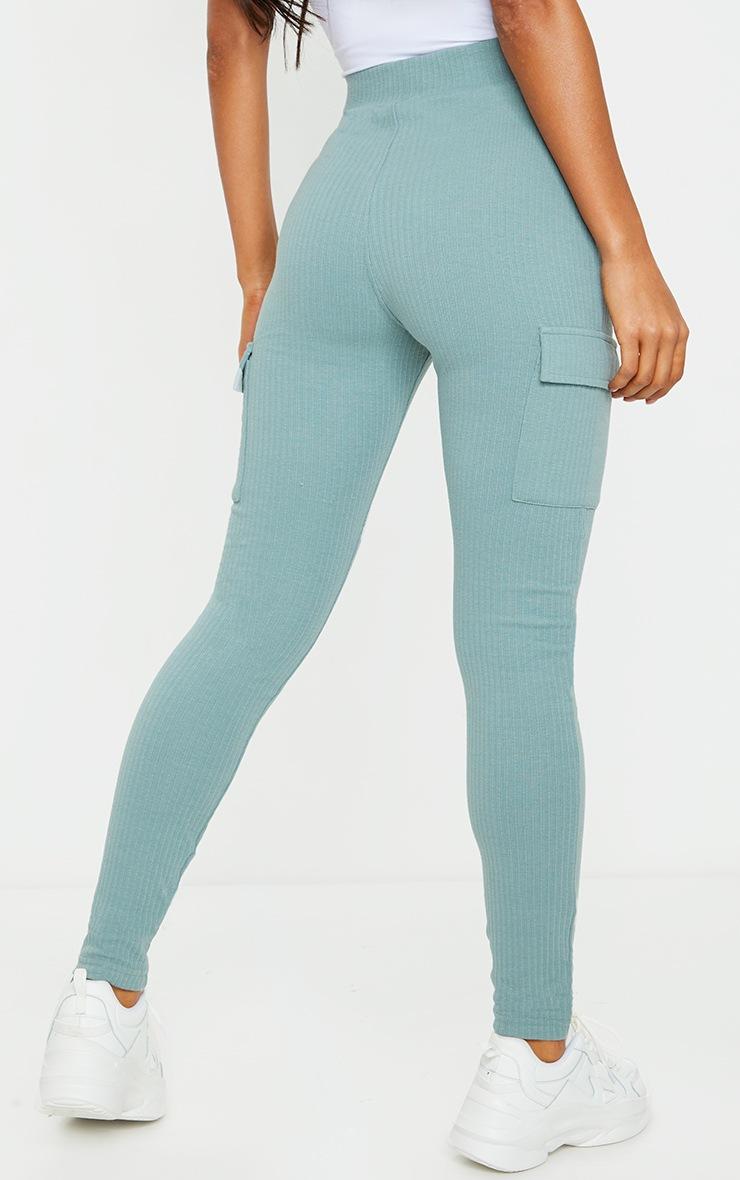 Blue Pocket Detail Heavy Ribbed Leggings 3