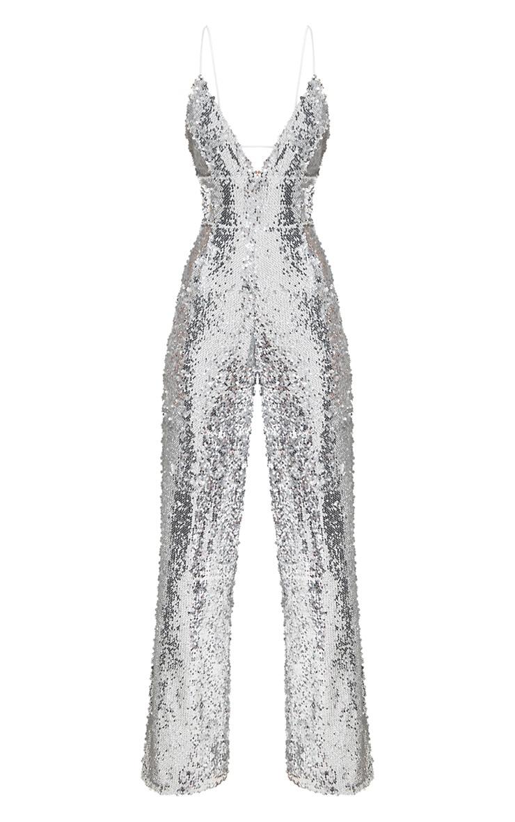 Silver Sequin Plunge Jumpsuit 3