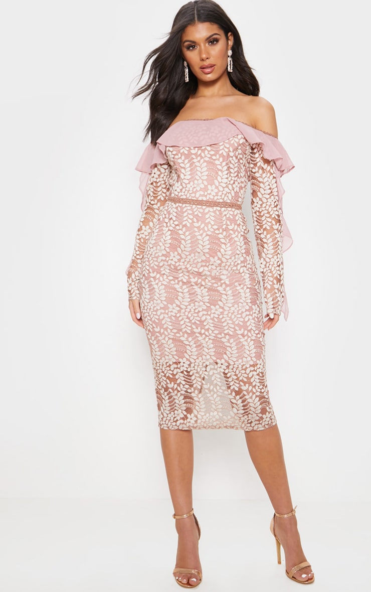 Dusty Pink Bardot Lace Frill Sleeve Midi Dress 1