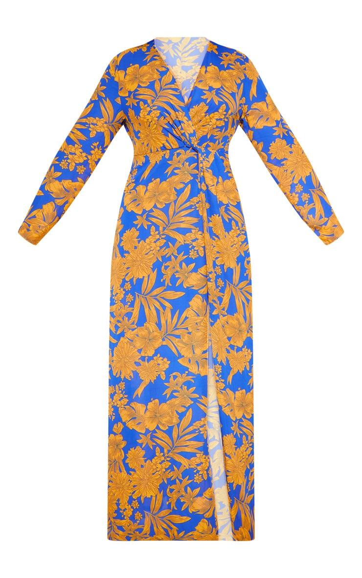 Plus Cobalt Tropical Print Twist Front Maxi Dress 3