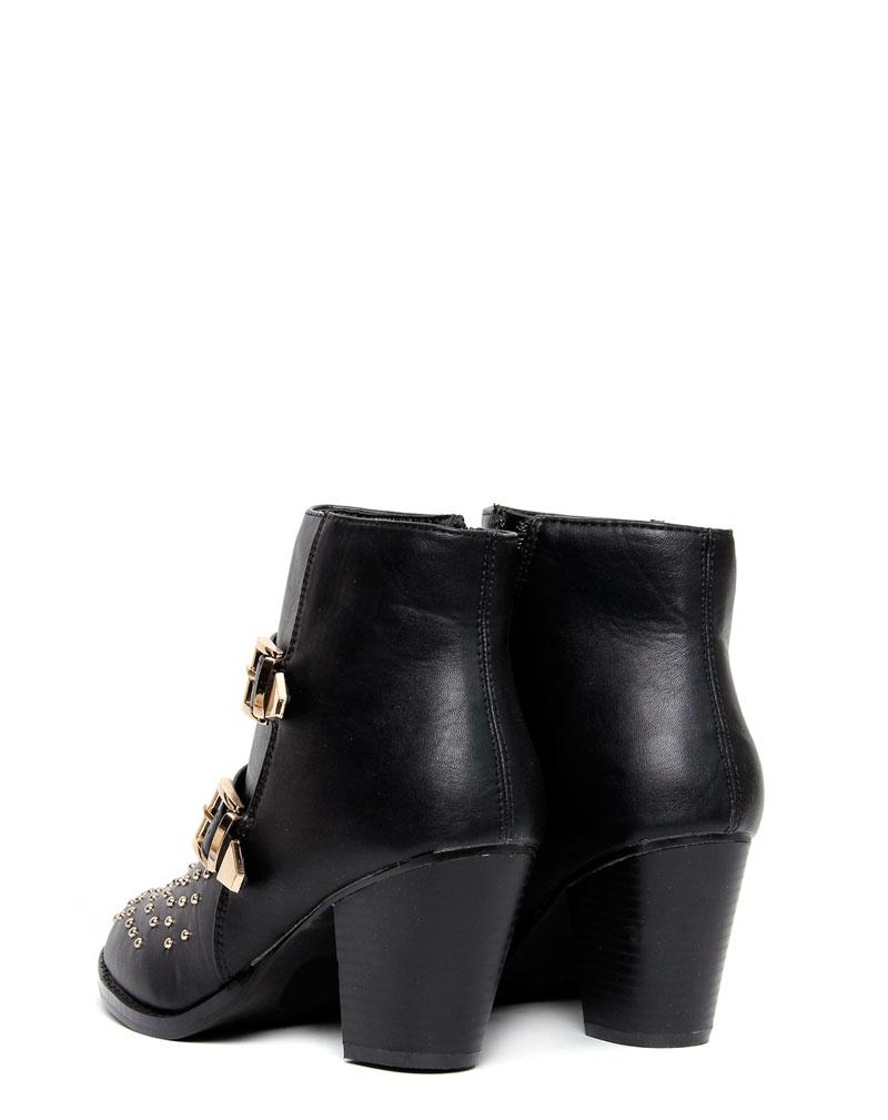 Ava Black Stud Buckle Boots 2