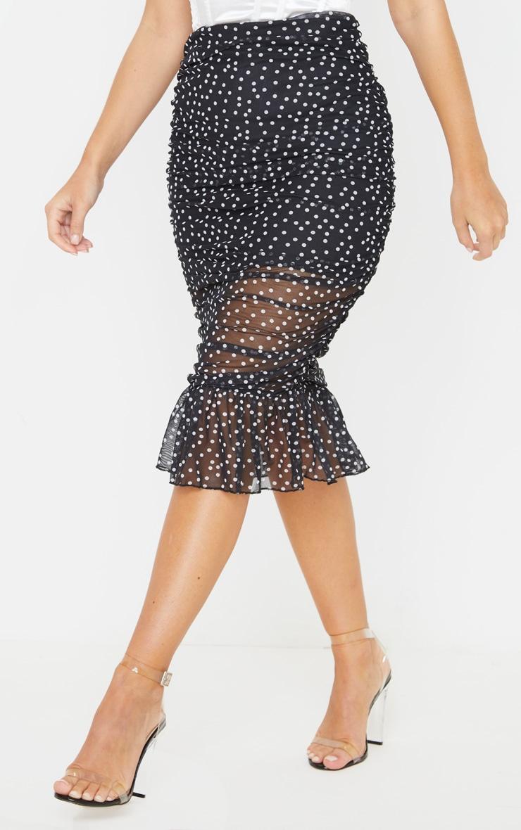 Black Polka Dot Mesh Frill Hem Midaxi Skirt 2