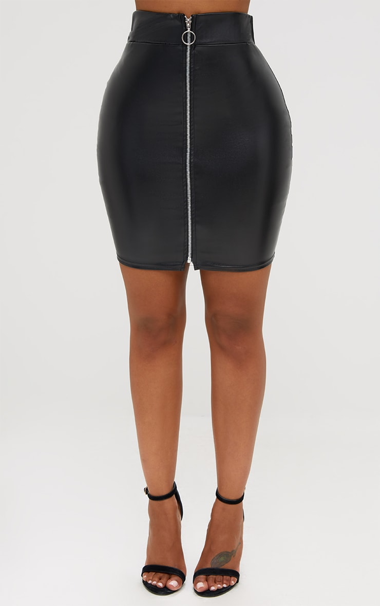 Shape Black Zip Front PU Mini Skirt 2