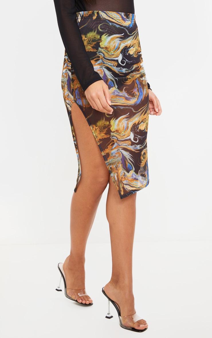 Black Marble Print Mesh Midi Skirt 2