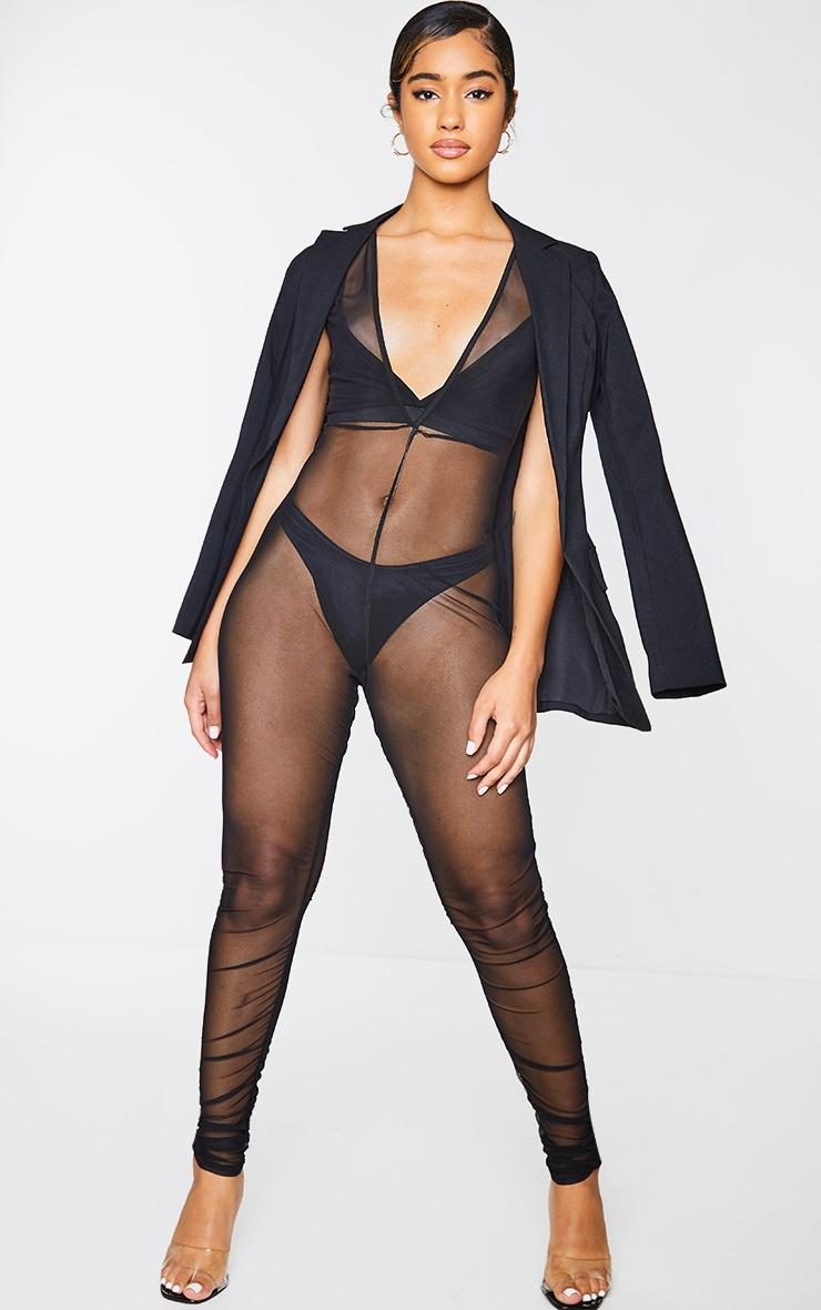 Black Mesh Ruched Plunge Jumpsuit