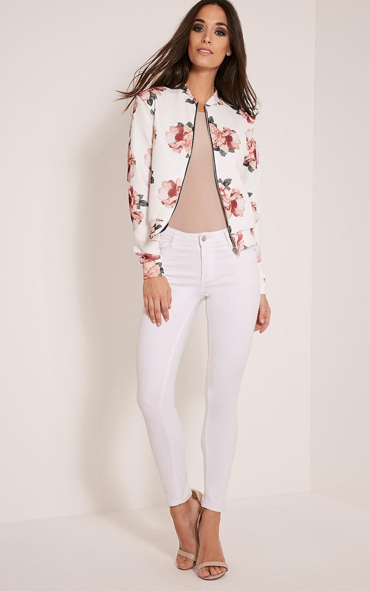 Emmah White Floral Ribbed Bomber Jacket 5