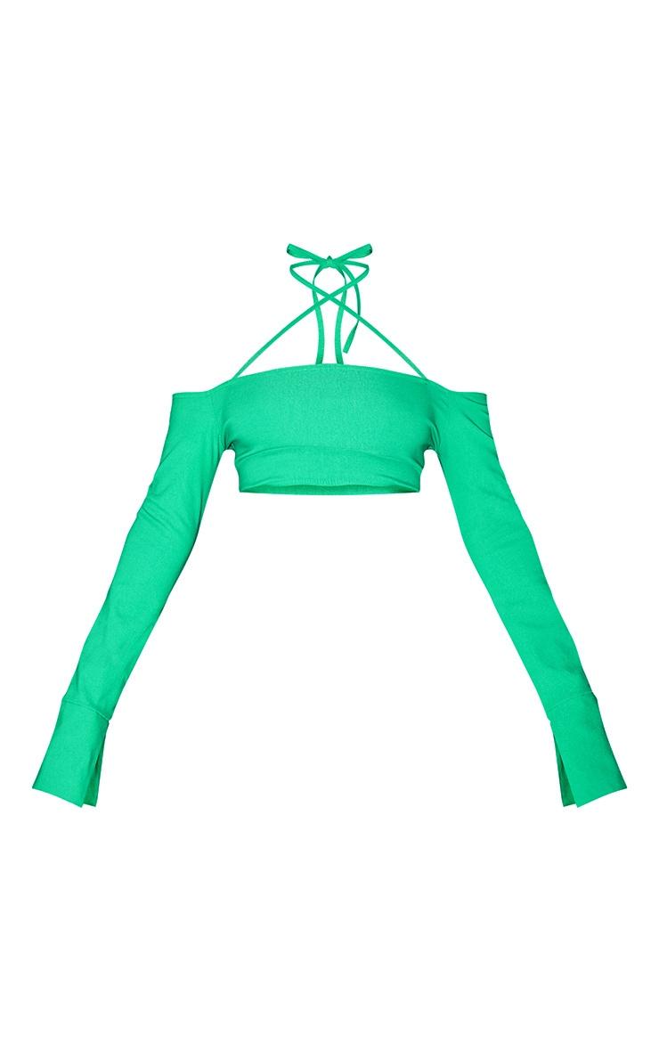 Bright Green Stretch Woven Halterneck Bardot Crop Top 5