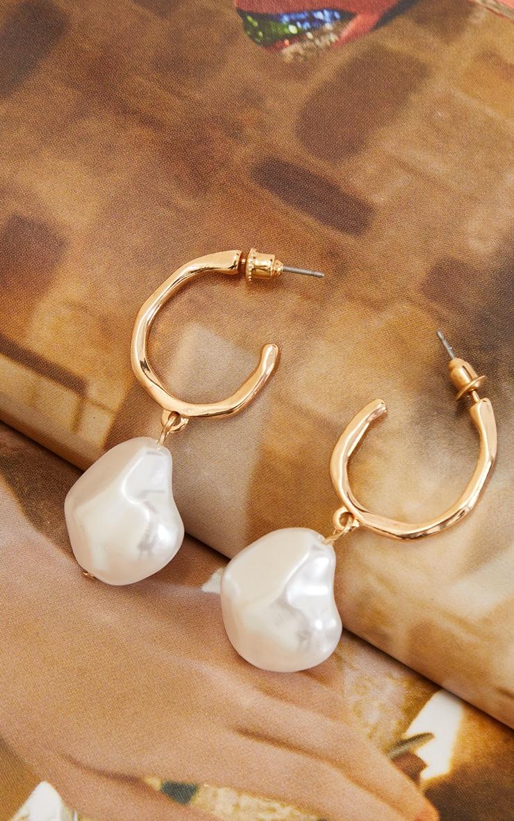Gold Pearl Drop Hoop Earrings 1