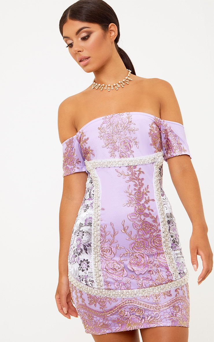 Premium Purple Embroidered Lace Bardot Bodycon Dress 2