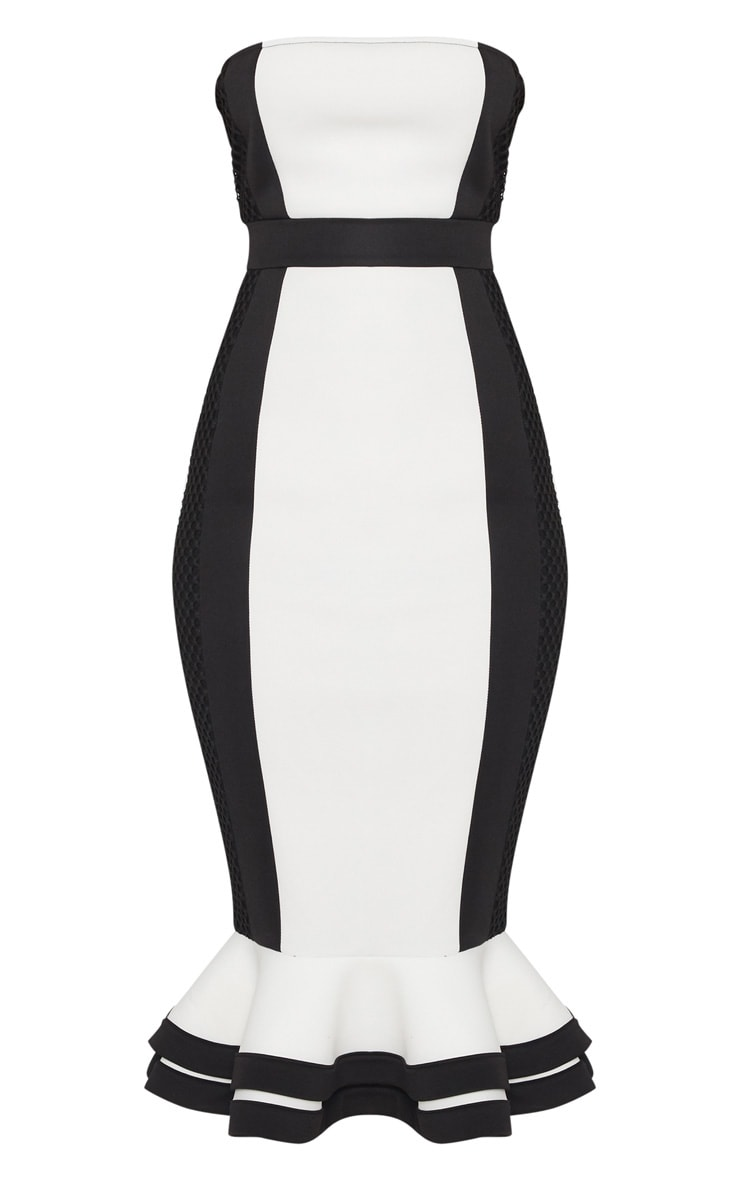 Monochrome Bandeau Contrast Detail Fishtail Midi Dress 3