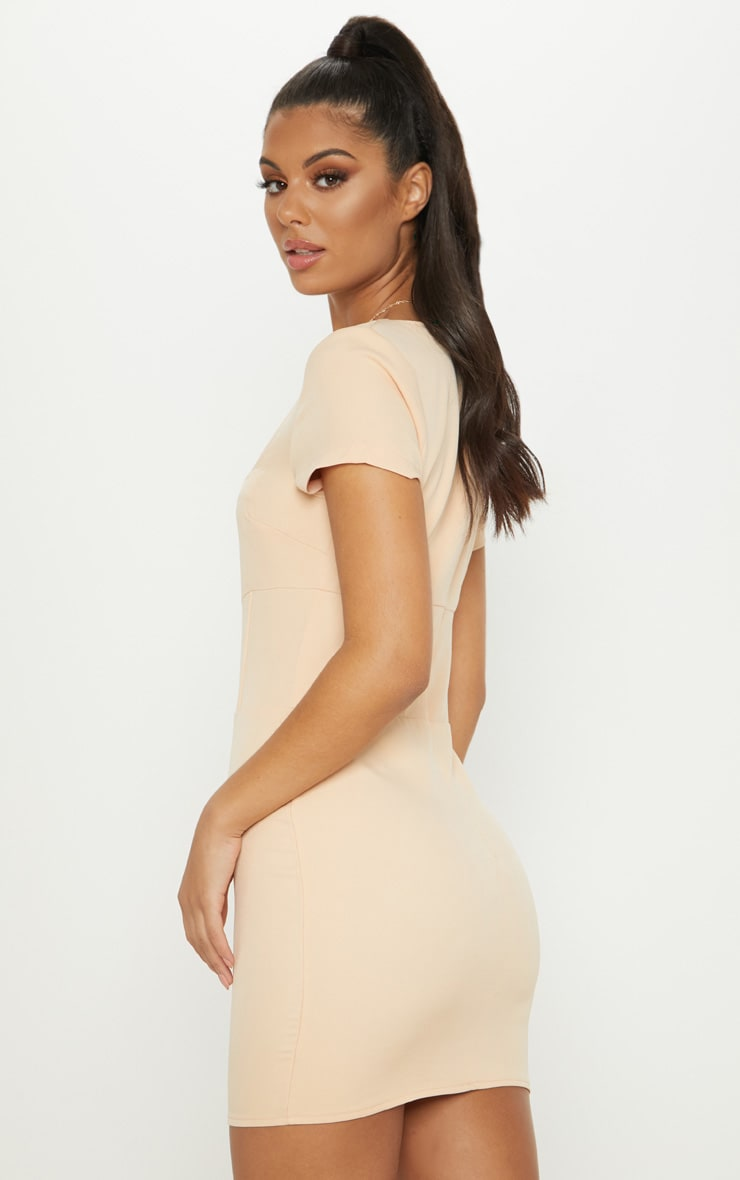 Nude Square Neck Basque Detail Bodycon Dress 2