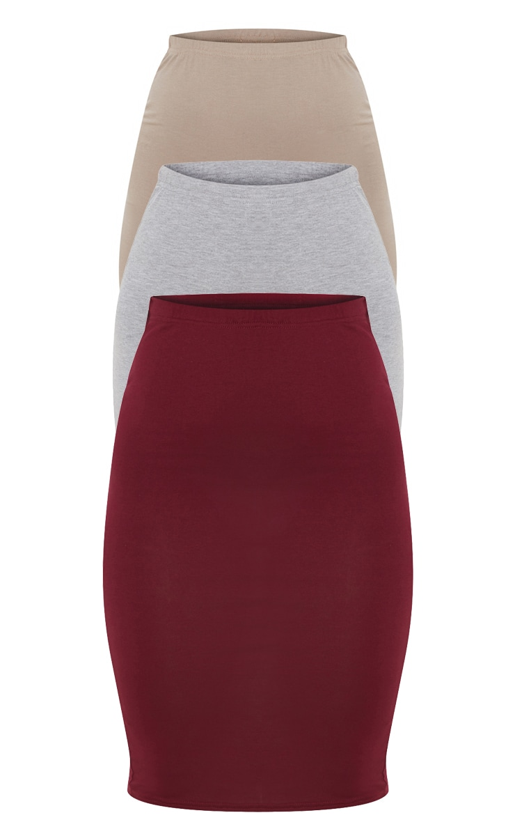 Grey Maroon and Taupe Basic Jersey Midi Skirt 3 Pack 3