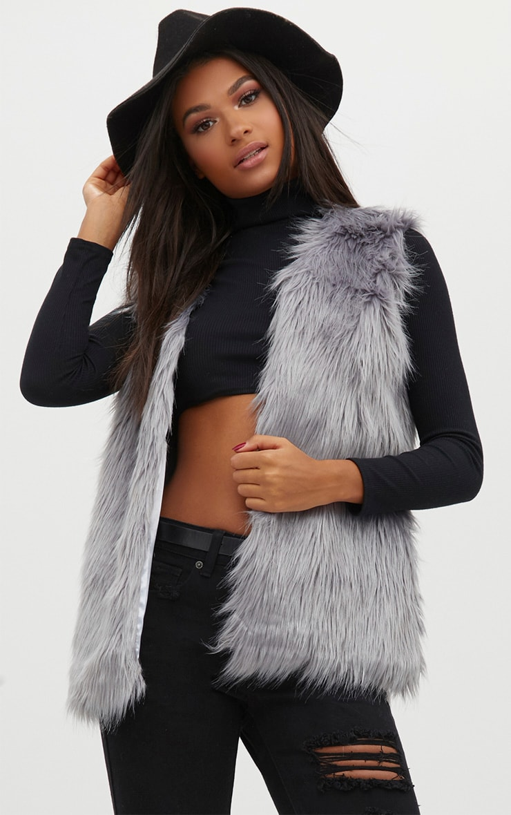 Grey Faux Fur Gilet 1