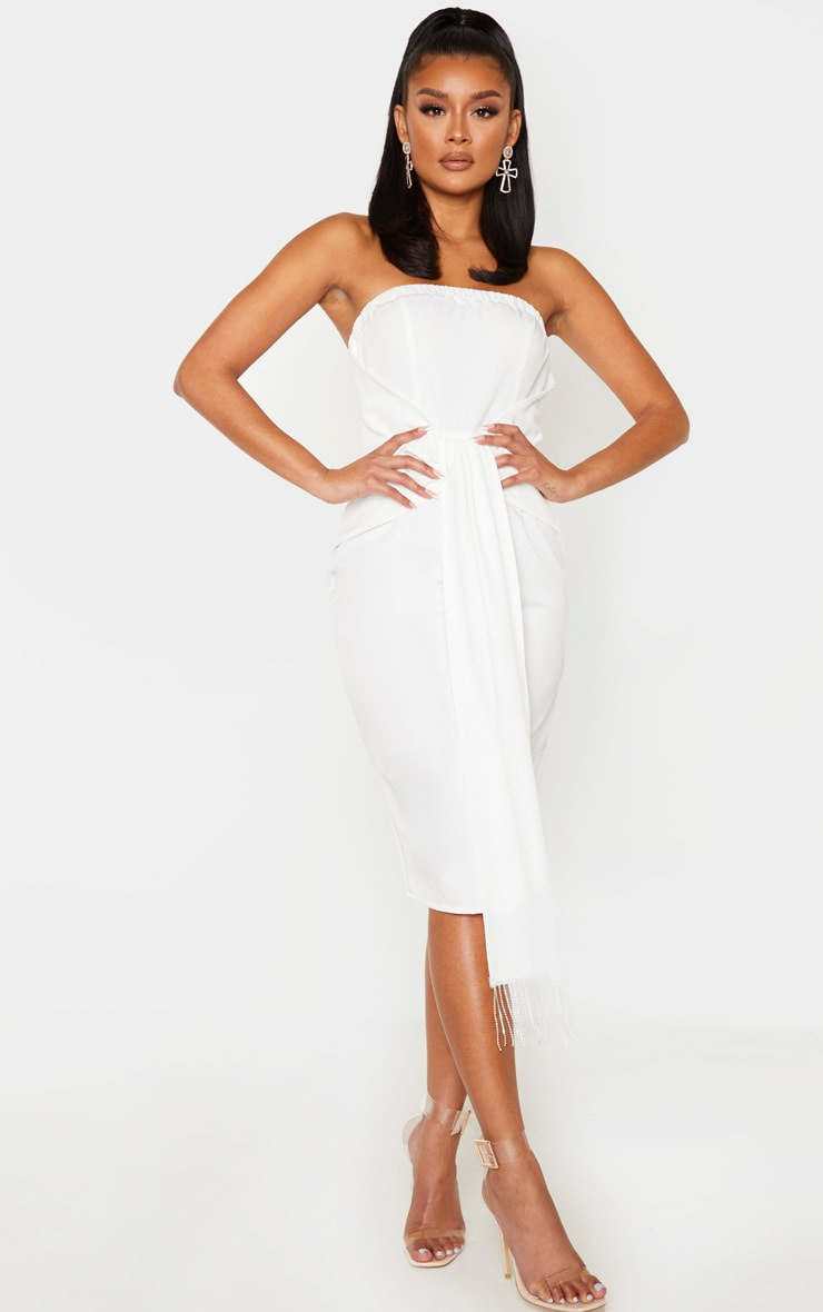 White Jewelled Tassel Bandeau Drape Midi Dress 1