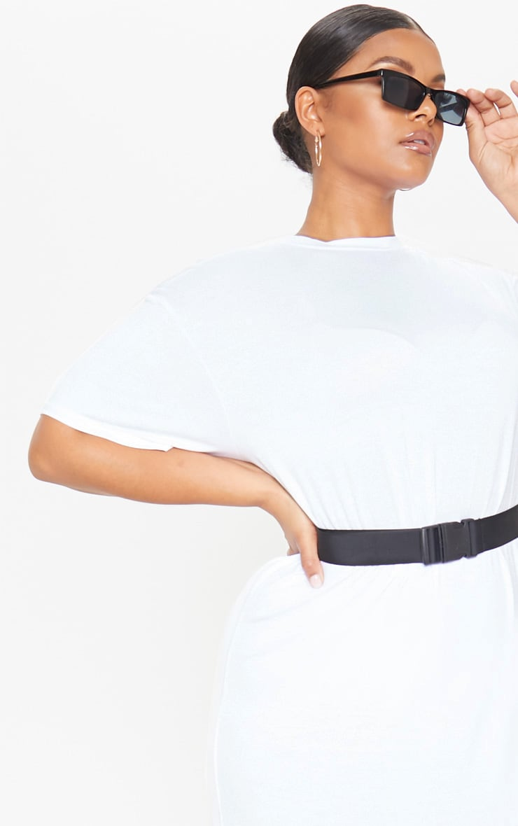 Plus White Oversized Boxy Midi T Shirt Dress 5