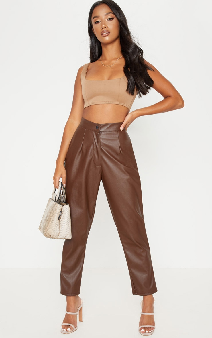 Petite Chocolate Faux Leather Slim Leg Pants 1