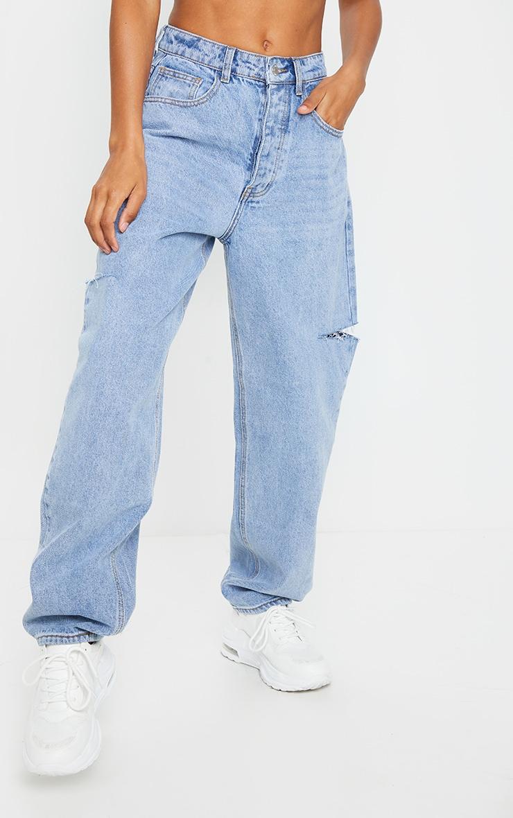 Light Blue Wash Thigh Split Baggy Boyfriend Jeans 2