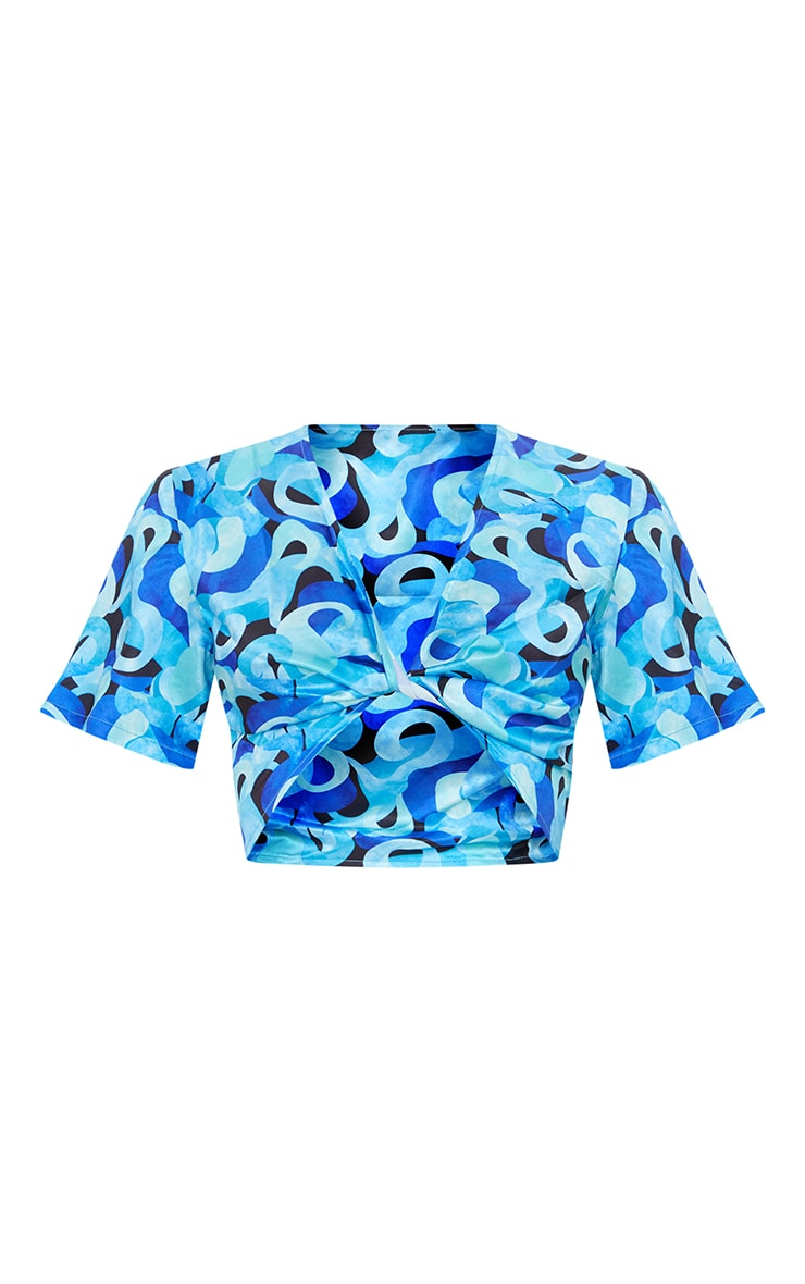 Blue Abstract Twist Front Short Sleeve Crop Top 5