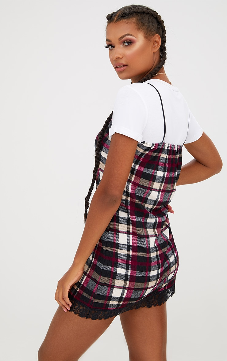 Black Check Eyelash Trim Shift Dress 2