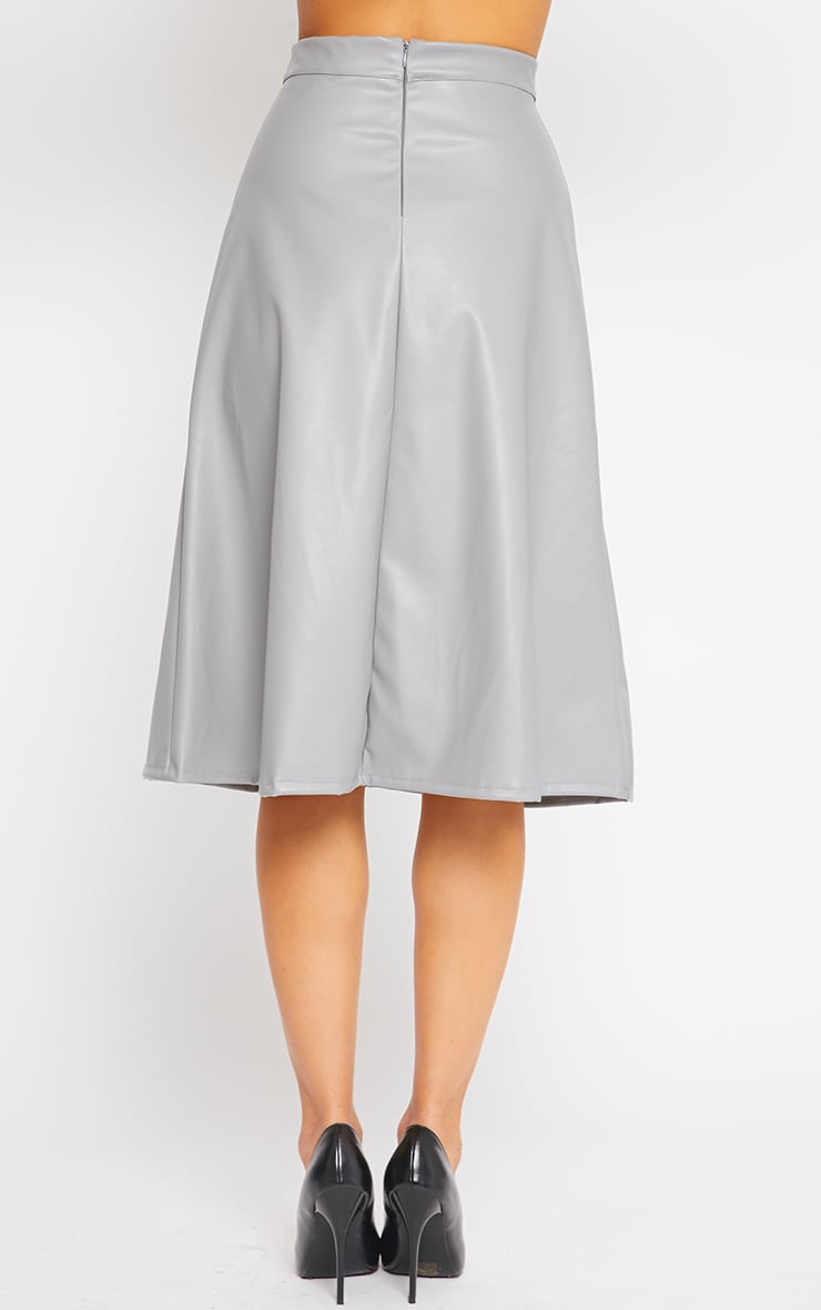 Heidi Grey Leather A Line Midi Skirt 2